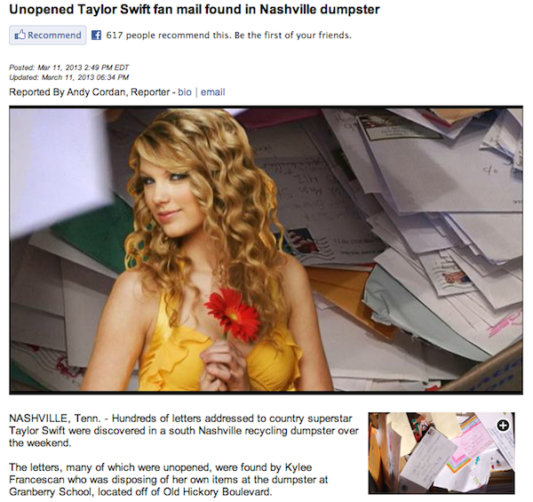 Where your fan mail to Taylor Swift actually ends up.