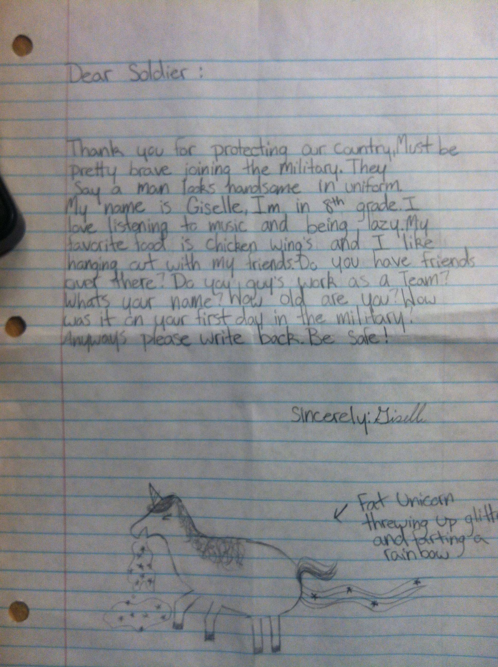 Kid sends soldier stationed overseas an adorable letter with a magically gross illustration.