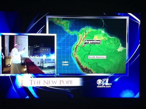 The most pathetic attempt by a news station to find Pope Francis's home country on a map.