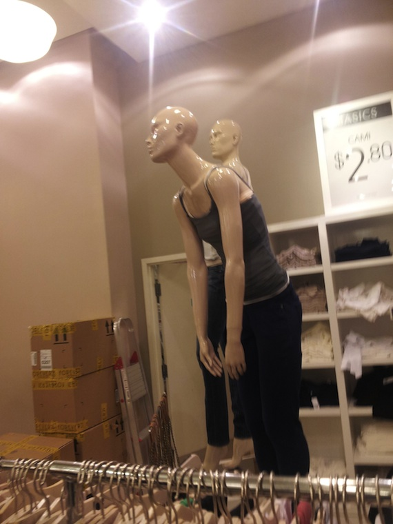 Mall mannequin perfectly resembles grumpy teenager.