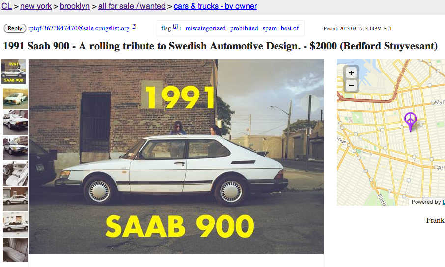 Delightfully Pretentious Craigslist Ad For 1991 Saab | Someecards ...