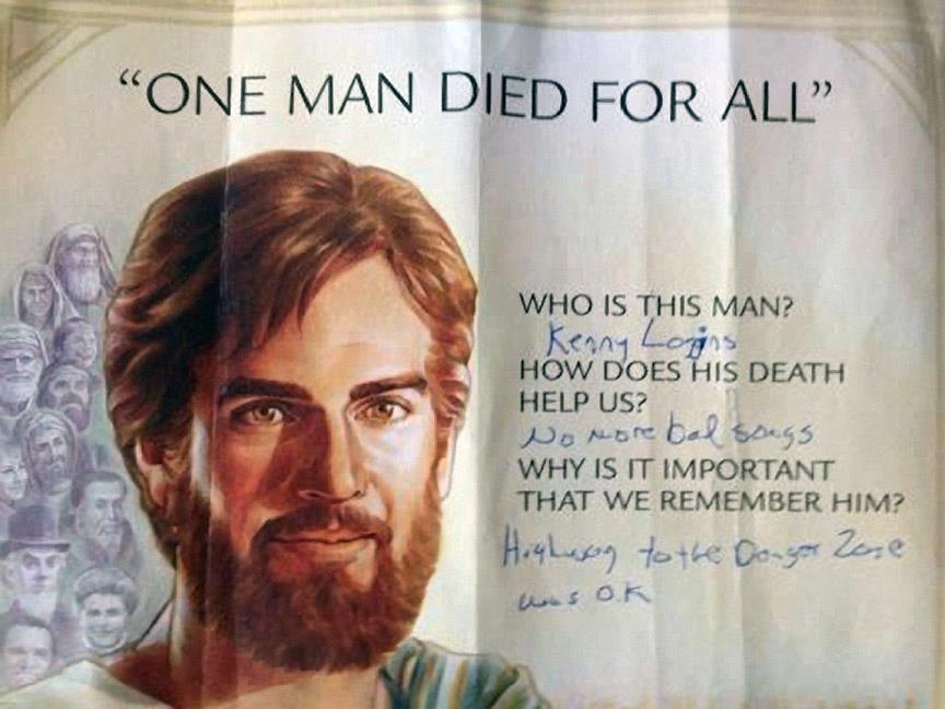 The most enjoyable use of graffiti on a poster of Jesus we've seen yet.