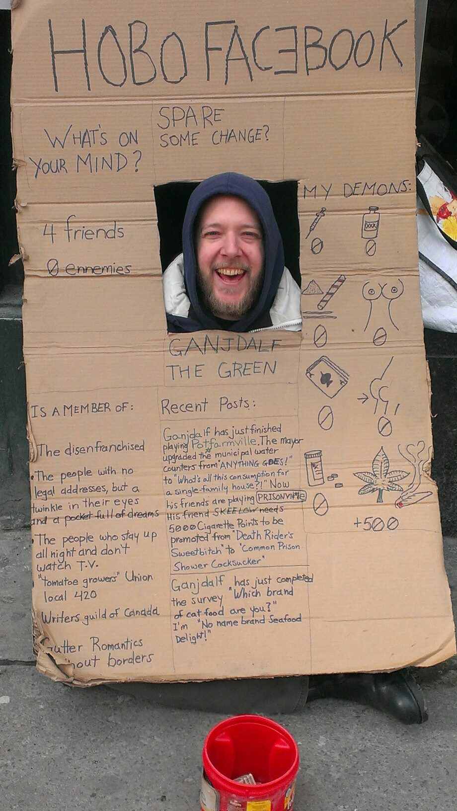 Homeless man's cardboard Facebook page is more entertaining than all of Facebook.