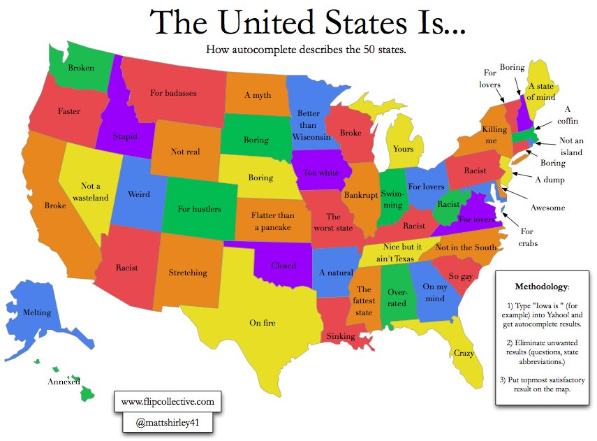 a map of the united states filled in with autocomplete search terms for each state