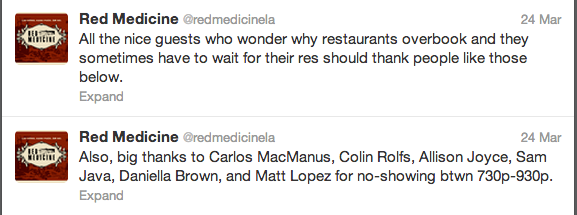 Restaurant uses Twitter to publicly shame no-shows who bail on their reservations.