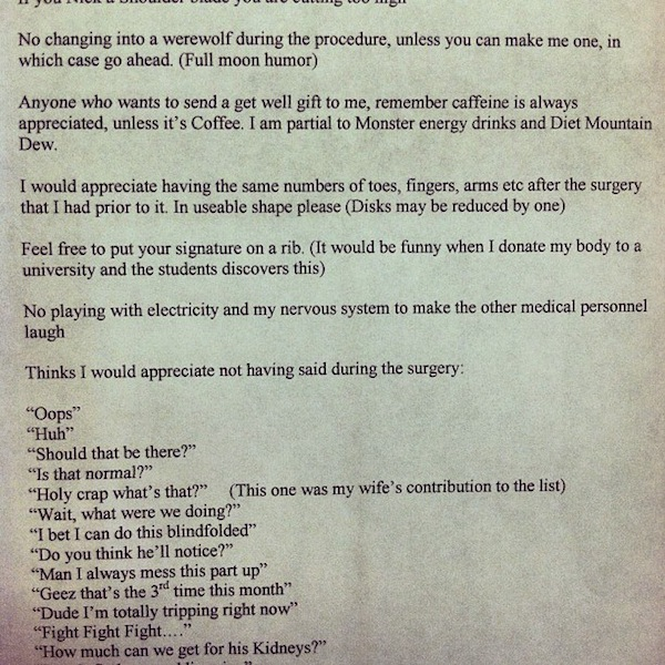 A patient gave his surgeon a letter before going under. Here's what it said.