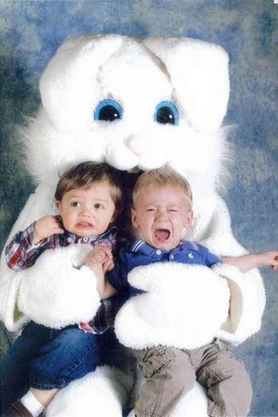 Image result for mall easter bunny crying child