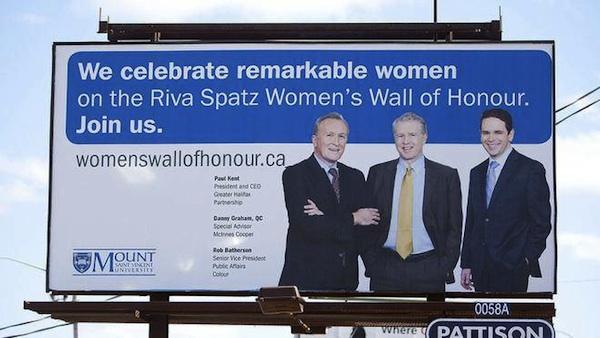 University's billboard honoring women features photo of three dudes.