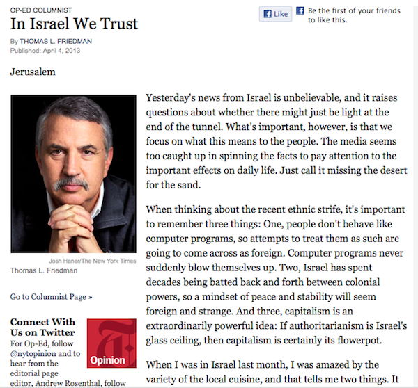 New website auto-generates Thomas Friedman op-eds so Thomas Friedman doesn't have to write them.