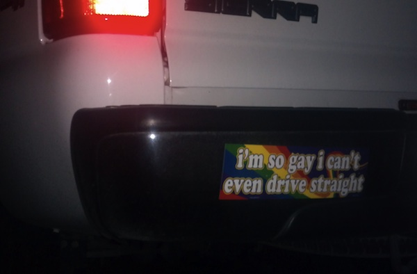 Homophobic dad makes daughter's girlfriend cry. Daughter gets revenge by putting this on his truck.