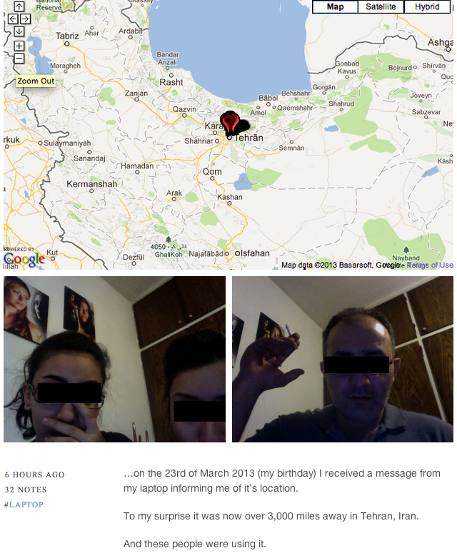 Man's laptop is stolen, turns up in Iran and sends him pictures of the family using it.