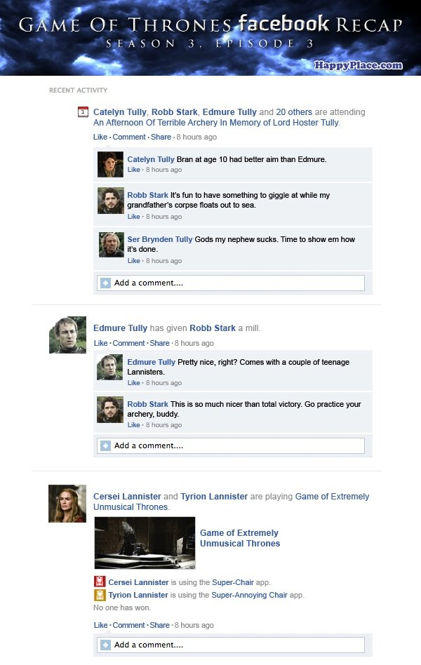 If Game Of Thrones took place entirely on Facebook: Season 3, Episode 3.