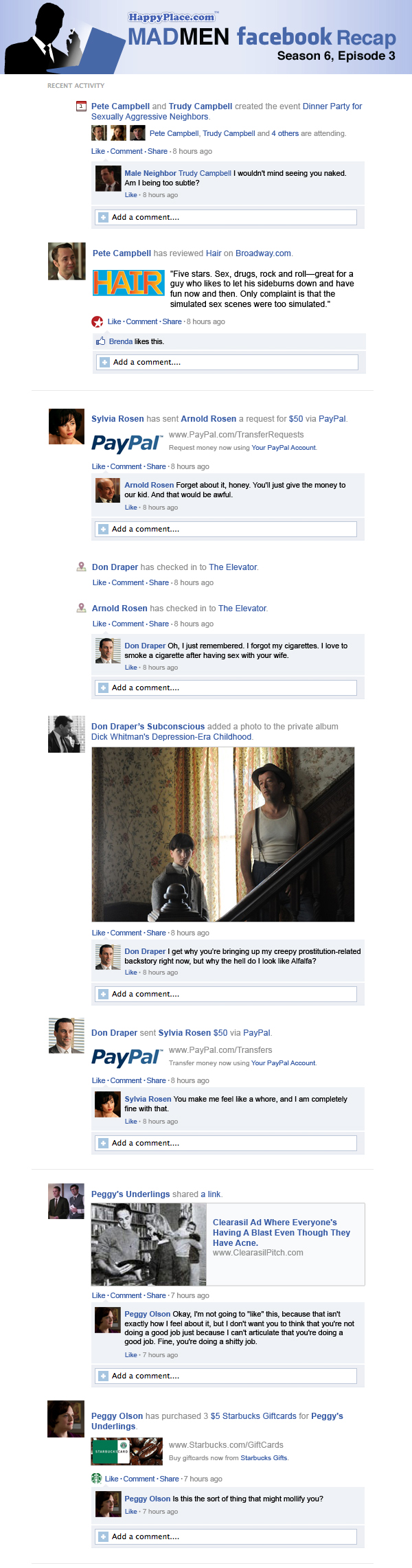 If Mad Men took place entirely on Facebook: Season 6, Episode 3.