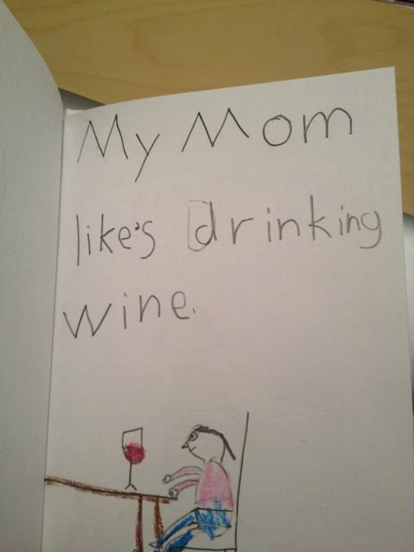 A child was assigned to write one sentence about a family member and draw  a picture. Here's how she described her mom.