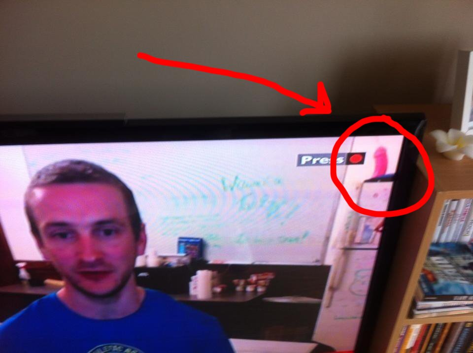 Man being interviewed on TV about Boston bombers forgot to hide his huge pink dildo.