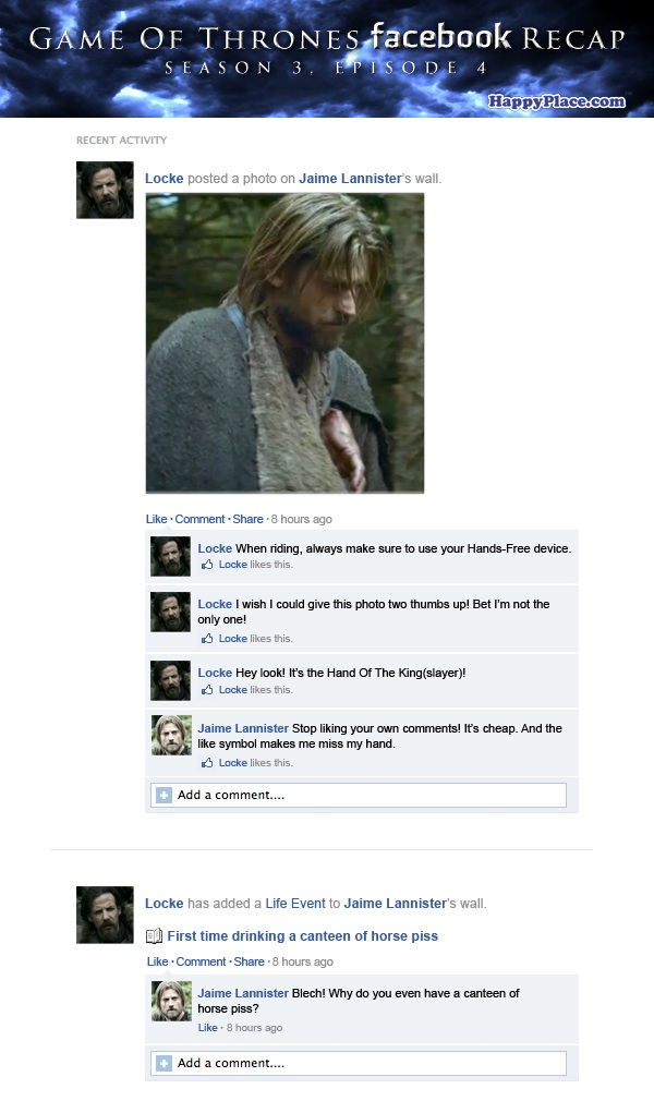 If Game Of Thrones took place entirely on Facebook: Season 3, Episode 4.