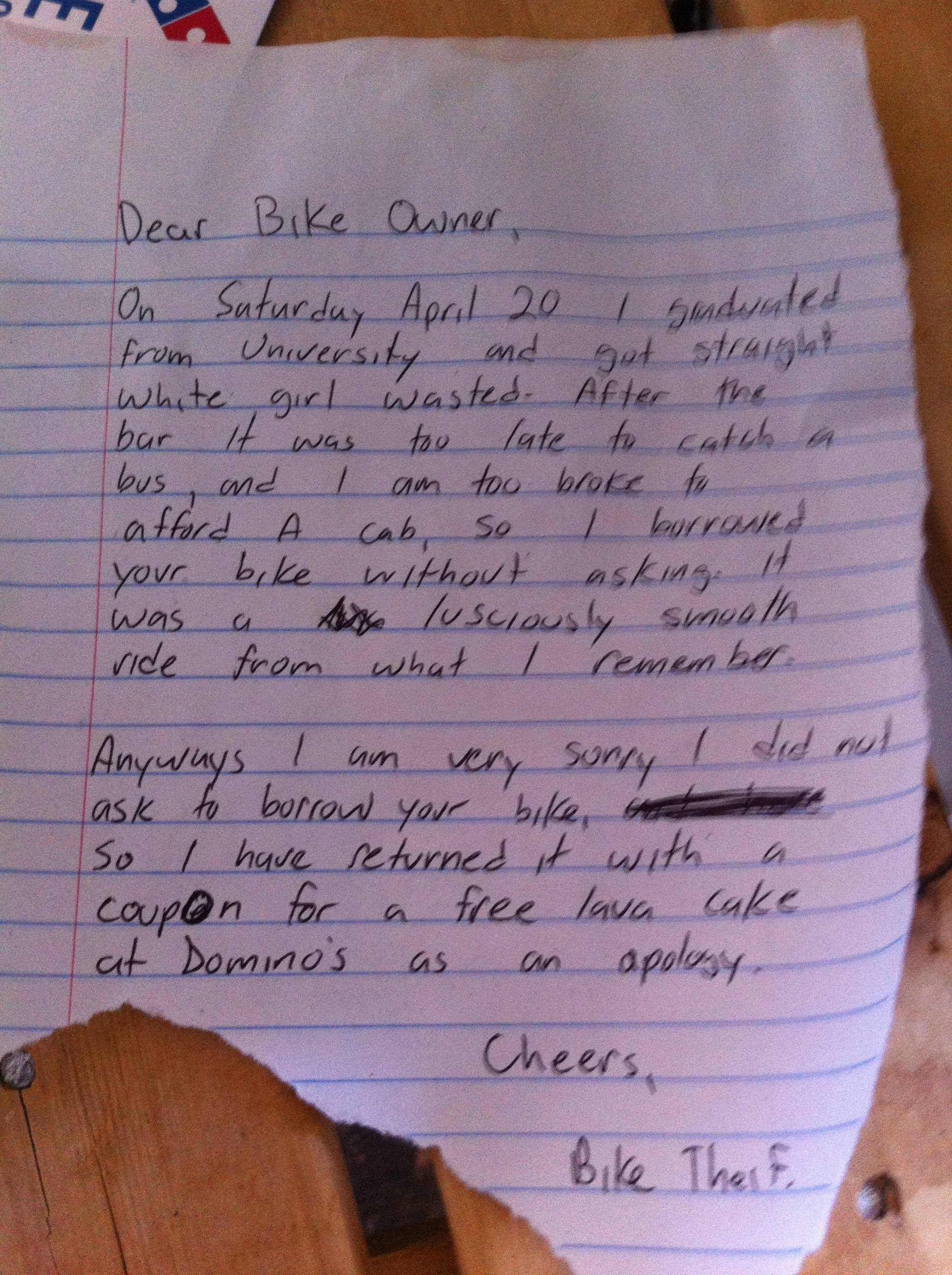 Bike Thief Returns Bike With Coupon For Free Cake Someecards Dumb