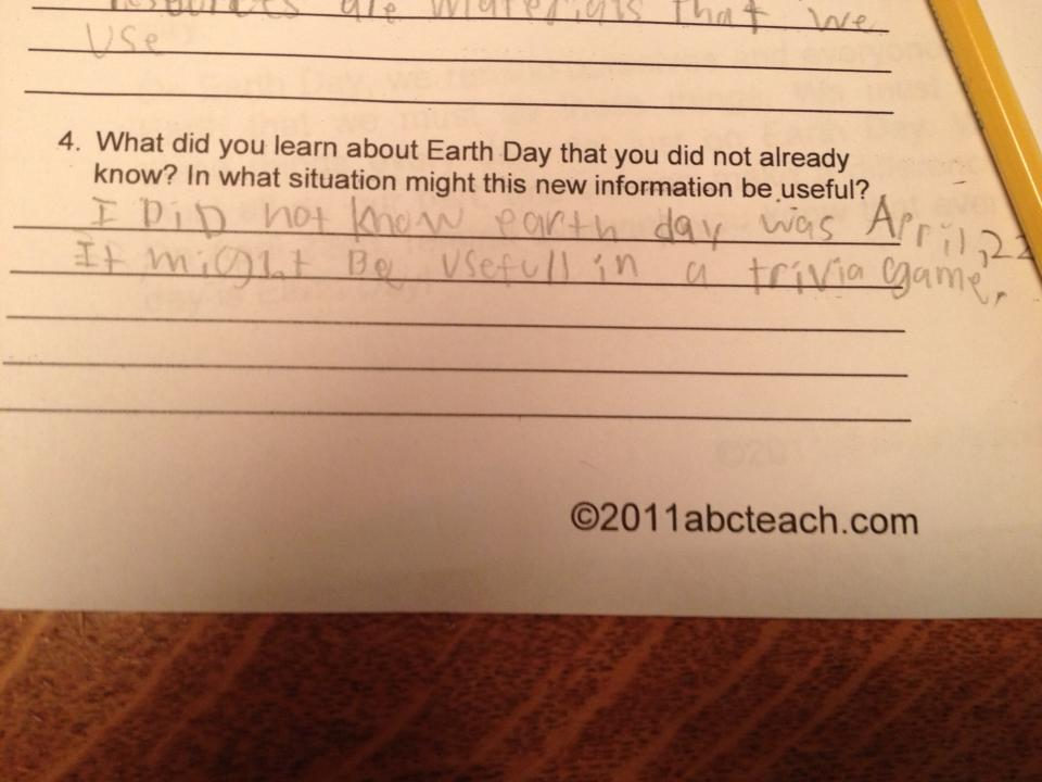 Third-grader's test answer makes clear he couldn't give a crap about Earth Day.