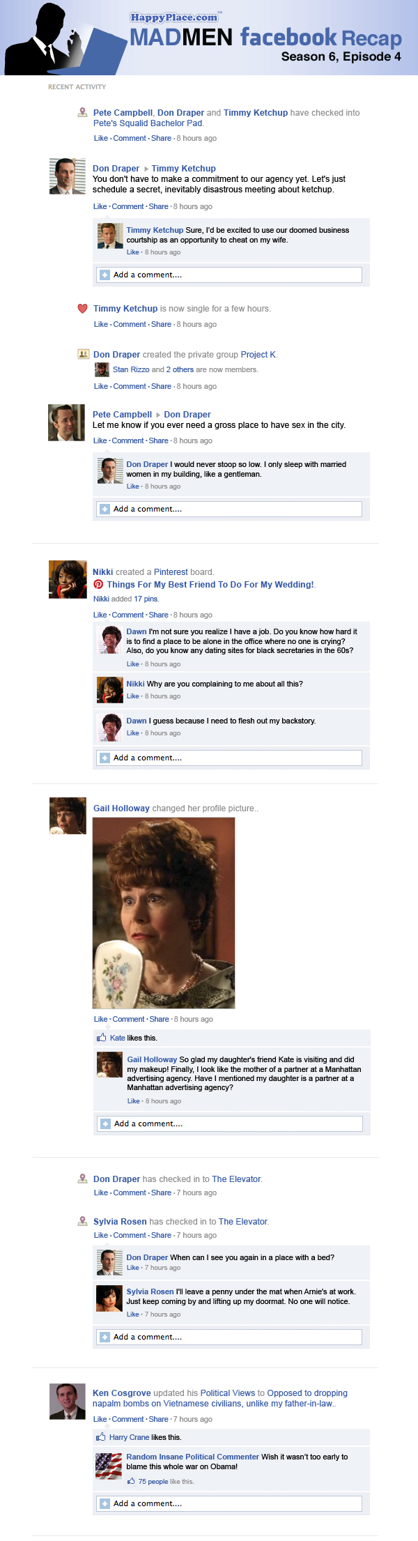 If Mad Men took place entirely on Facebook: Season 6, Episode 4.