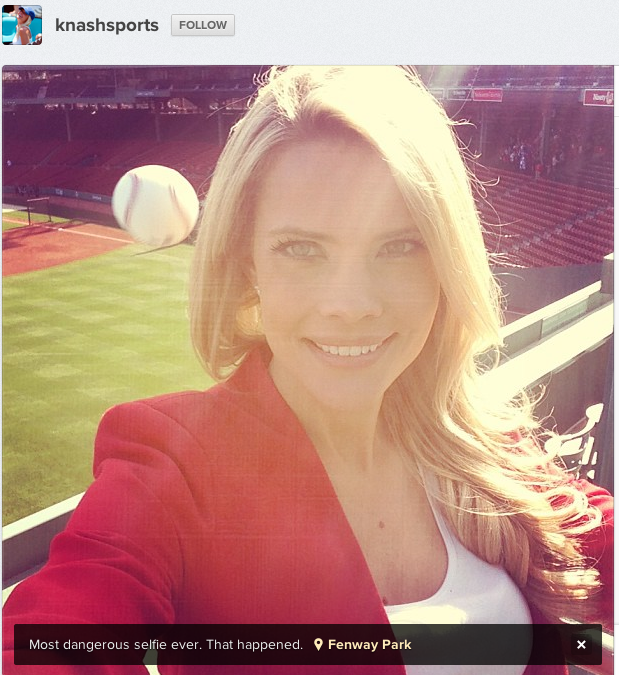 Reporter taking selfie at stadium accidentally photographs the moment she was nearly killed.