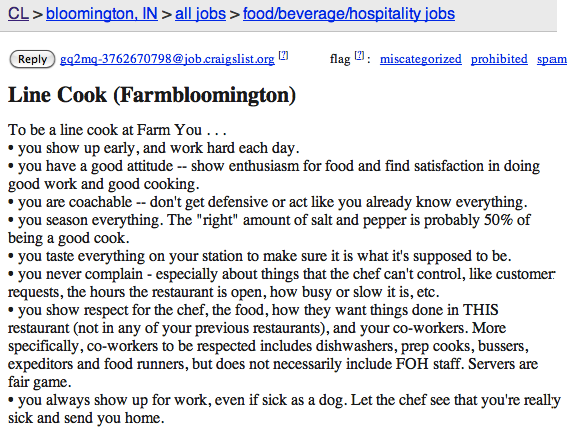 1100 word craigslist ad seeks line cook for the most high maintenance restaurant on earth