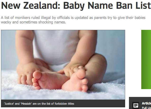 """New Zealand won't let you name your kid """"Anal"""" for some reason."""