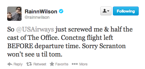 Rainn Wilson launches Twitter assault on an airline, makes sure to plug 'The Office' finale.