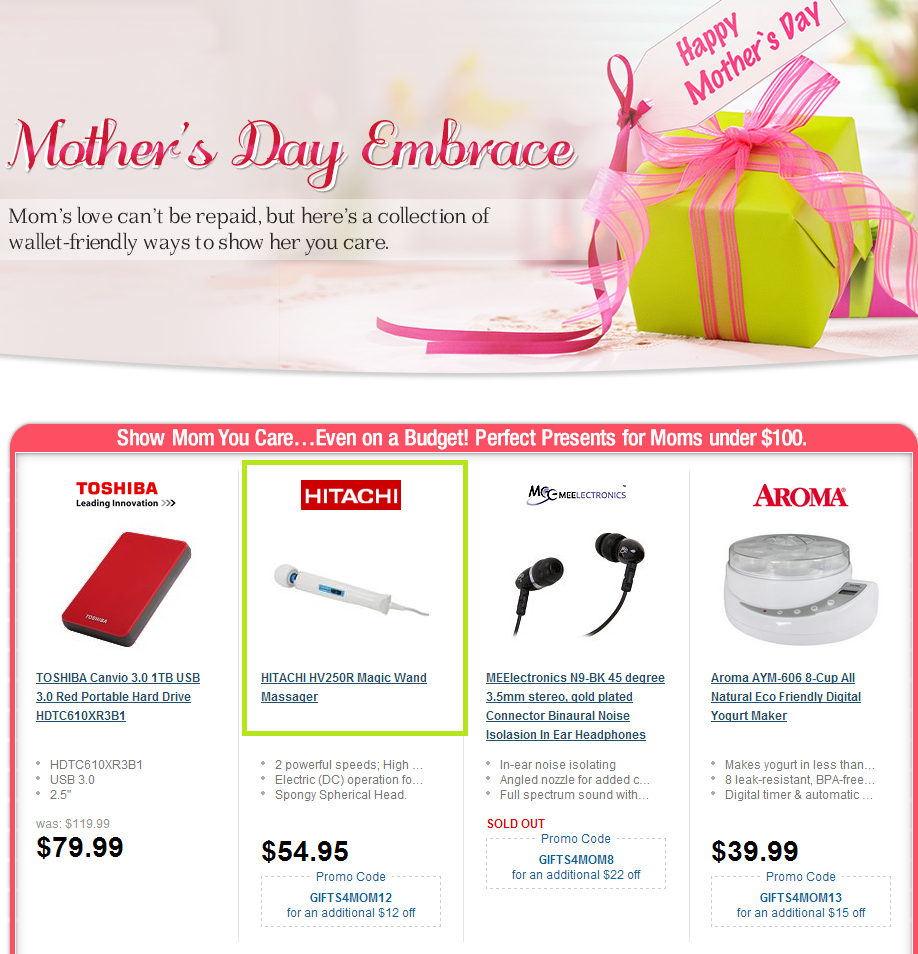 Shopping site wants you to get your mom a dildo for Mother's Day