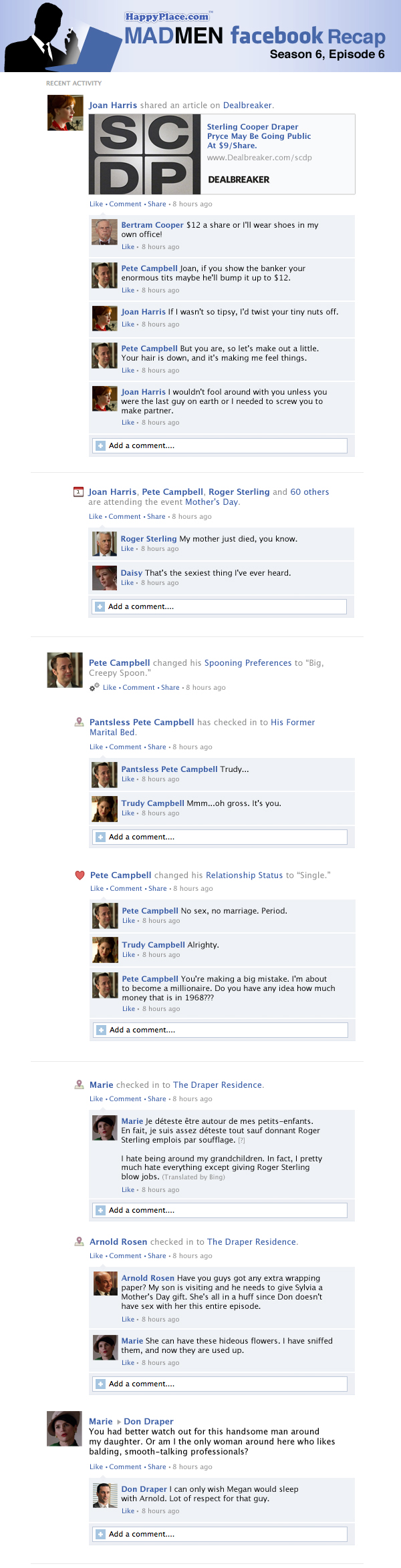 If Mad Men took place entirely on Facebook: Season 6, Episode 6.