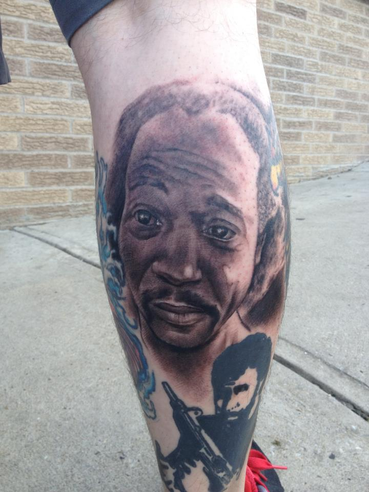 Someone went ahead and got a giant Charles Ramsey tattoo on his leg.