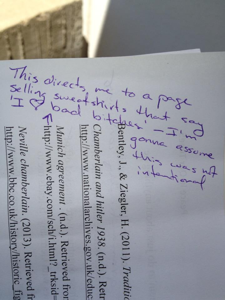 A college student accidentally included the wrong link in his term paper. The professor handled it well.