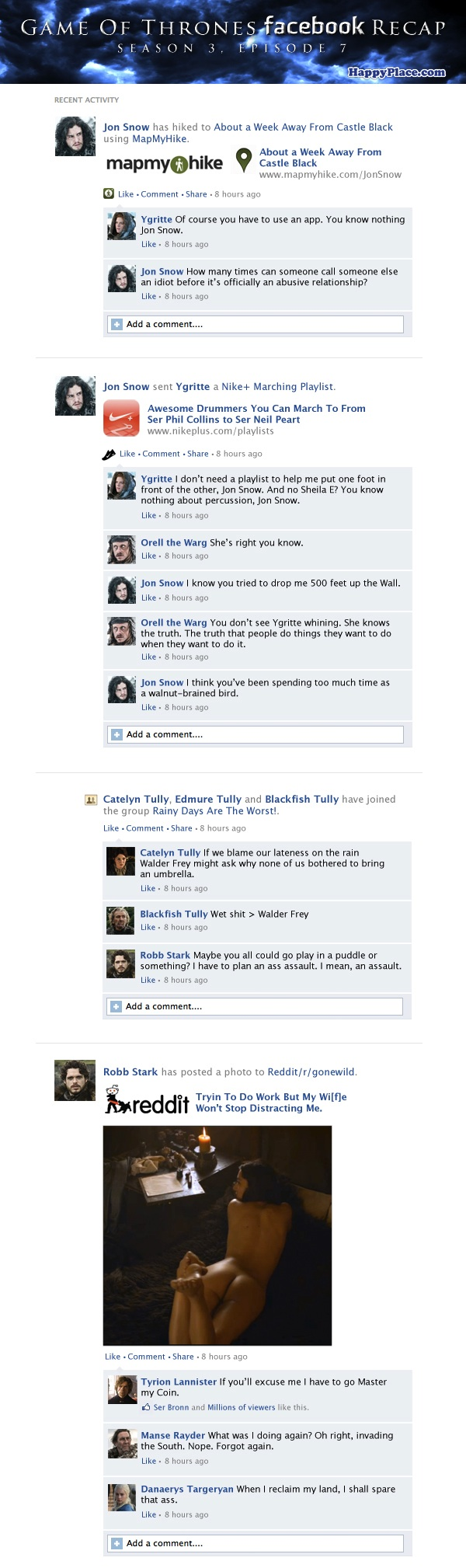 If Game Of Thrones took place entirely on Facebook: Season 3, Episode 7.