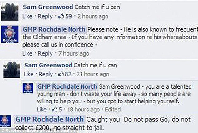 """Criminal posts """"catch me if you can"""" to local police Facebook page, gets caught 12 hours later."""