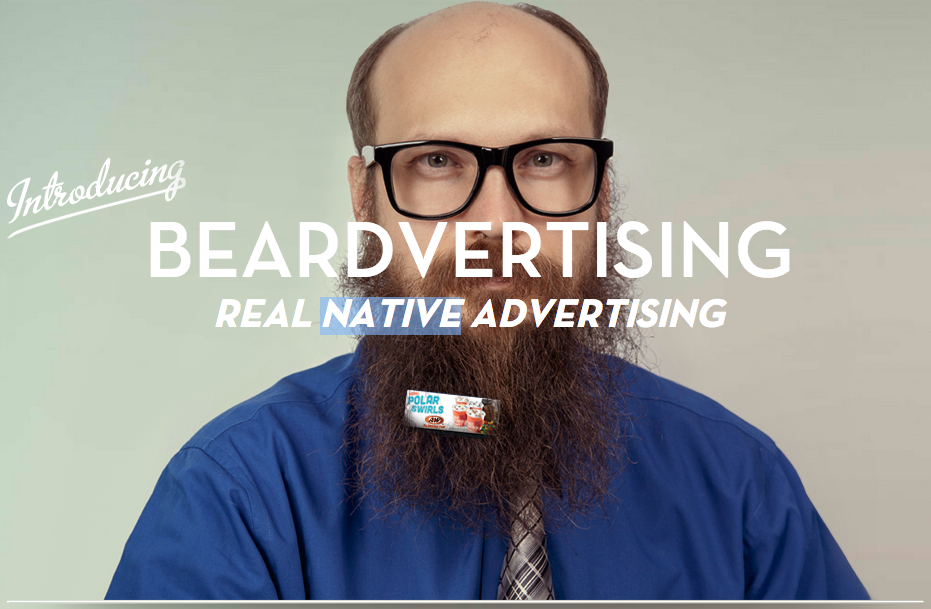 """""""Beardvertising"""" lets hipsters put ads in their beards so you know what brands to never buy ever."""