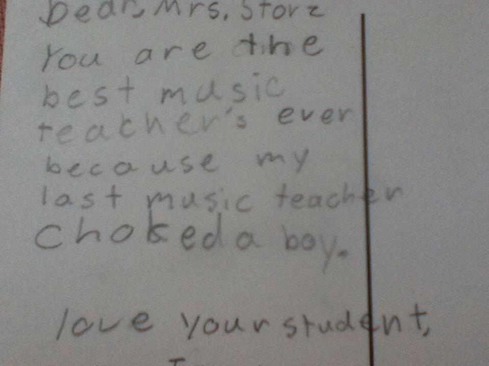 Little kid's end-of-year note to teacher praises her for not being a violent rage-machine.