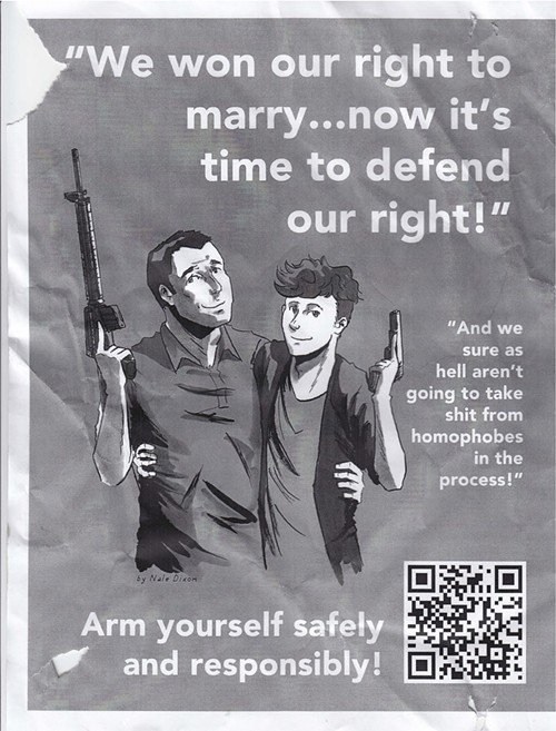These weird posters found in Washington state are trying to turn being pro-gun into a gay thing.
