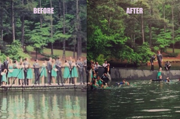A 29-person bridal party fell into a lake while taking wedding photos.