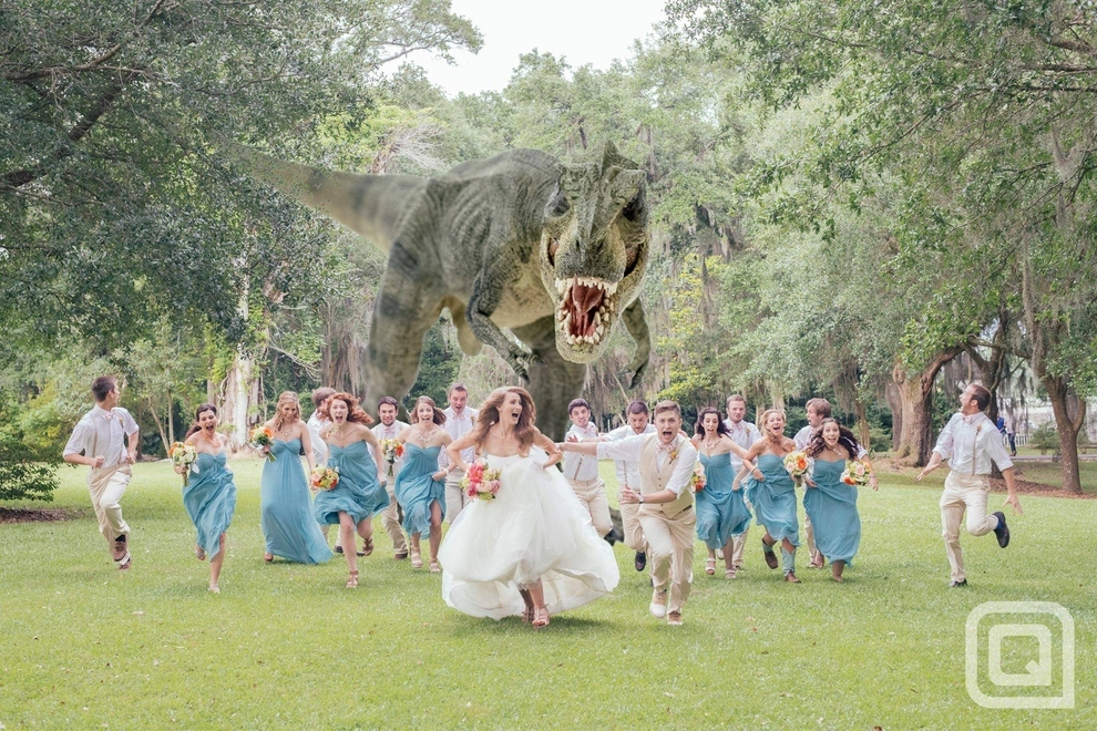 A photographer told a wedding party to look like they were running from a monster. Then he put together this very cool wedding photo.