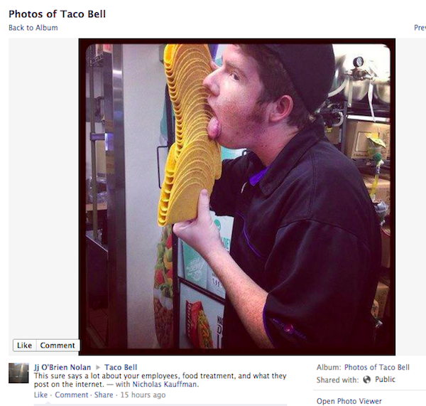 Taco Bell has yet to respond to this Facebook photo of an employee getting intimate with a stack of taco shells.