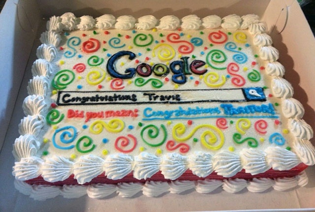 "A guy left his job to go work for Bing. So his coworkers gave him this ""Google"" goodbye cake."