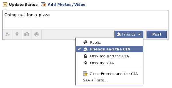 How the CIA spying on you will be reflected in Facebook's privacy settings.