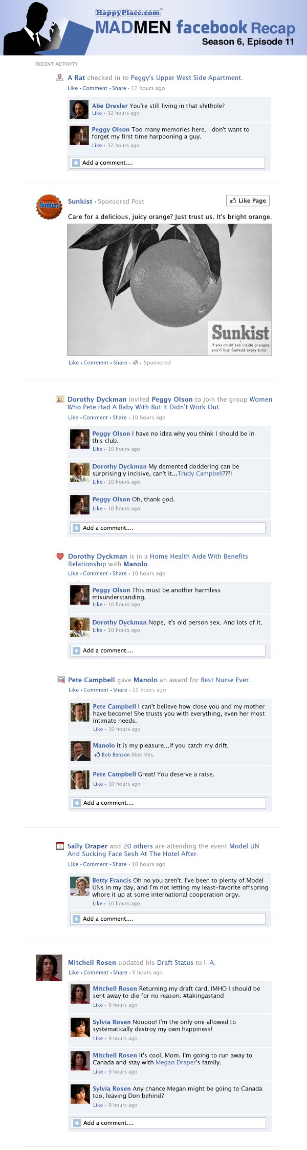 If Mad Men took place entirely on Facebook: Season 6, Episode 11.