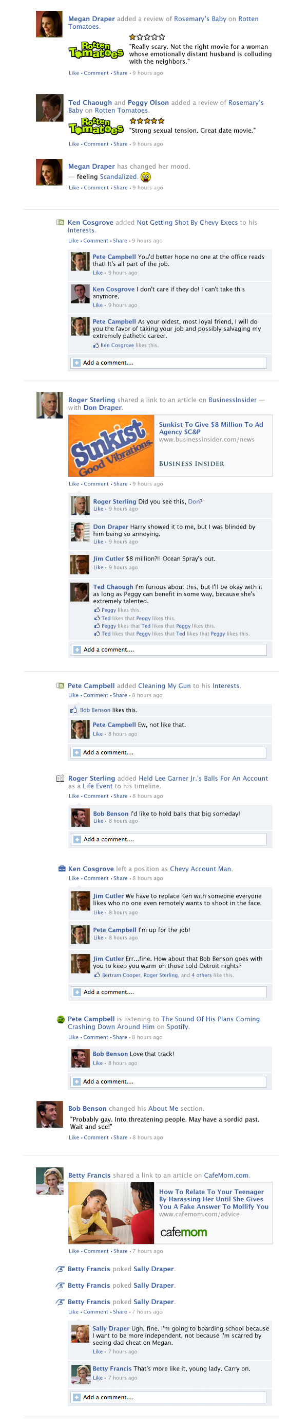 If Mad Men took place entirely on Facebook: Season 6, Episode 12.