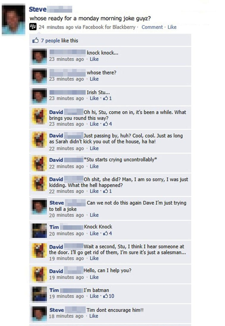 Friends hijack man's attempt to tell a knock-knock joke on Facebook, and the result is way more entertaining.