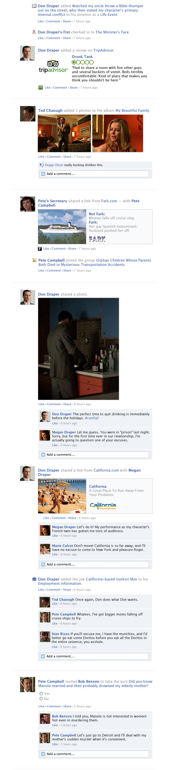 "If the season finale of ""Mad Men"" took place entirely on Facebook."