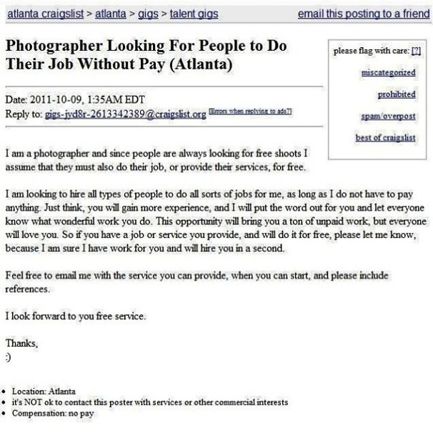 Craigslist ad is the perfect revenge for anyone who's been asked to work for free.