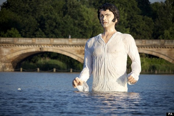 Swooniest scene from BBC's 'Pride and Prejudice' recreated as terrifying giant statue of Colin Firth in a lake.