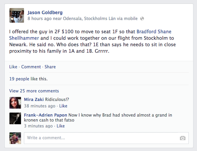 A-hole CEO rants on Facebook about man who wouldn't take money to move seats on plane.