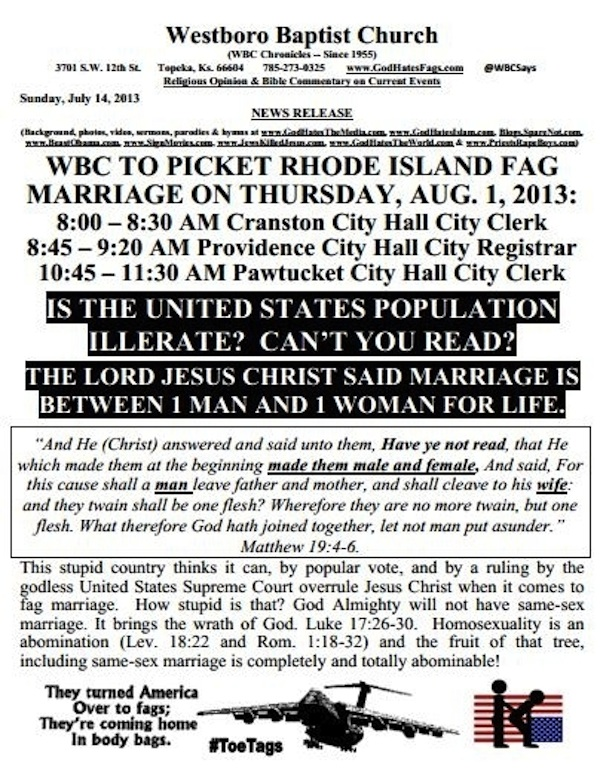 """Insanely offensive Westboro Baptist Church flyer ends up hilarious because they can't spell """"illiterate."""""""