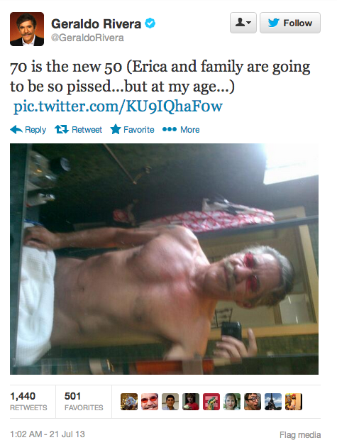 Late last night, Geraldo Rivera tweeted out this half-naked selfie of his 70-year-old bod.